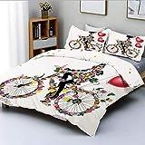Juego de funda nórdica, bicicleta de niña de las flores con globos, bicicleta de San Valentín, hada, moda para mujer, corazón, niñas adolescentes, decoración decorativa, juego de ropa de cama de 3 pie