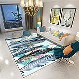 alfombras de habitacion Pelo Corto Alfombra Rosa, patrón de Plumas, fácil de aspirar, Cuidado Conveniente y Alfombra cálida y Simple Alfombra Dormitorio -Rosado_200 x 280