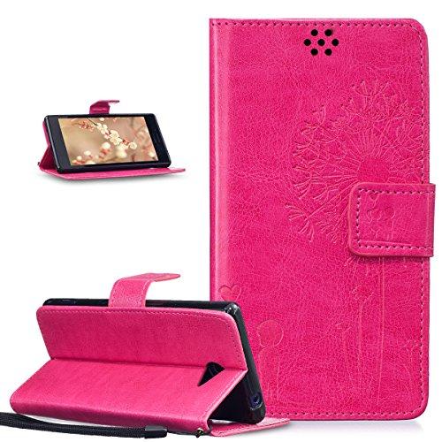 Kompatibel mit Schutzhülle Sony Xperia M2 Hülle Lederhülle Handyhülle,Prägung Liebe Löwenzahn Liebhaber PU Lederhülle Handyhülle Tasche Handytasche Flip Wallet Ständer Schutzhülle,Rose Red