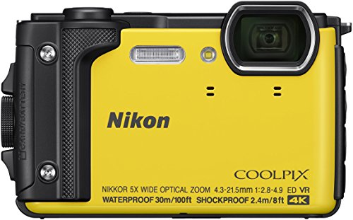Nikon W300 Waterproof Underwater Digital Camera with TFT LCD, 3', Yellow (26525)