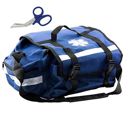 First Aid Responder EMS Emergency Medical Trauma Bag + Matching EMT Shear (Blue)