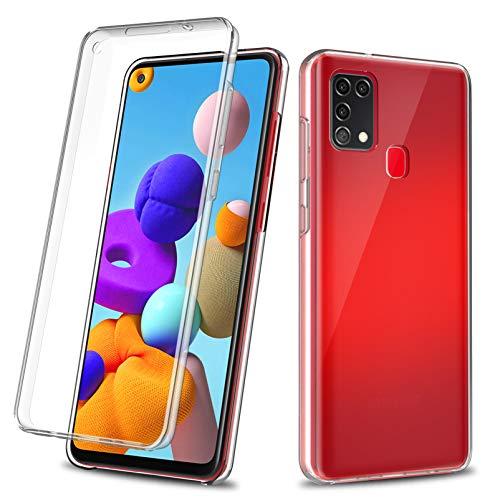 Yiscase Hülle für Samsung Galaxy A21S, 360 ° Ganzkörperschutz [Soft TPU Silikon Vorne] [Hard PC Rückseite] Transparente Flip Schutzhülle für Galaxy A21S