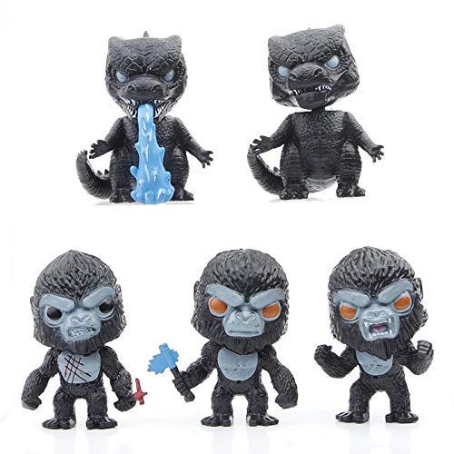 Godzilla vs Kong Toy, 5 pcs de Figuras de acción con Lindas Decoraciones, Godzilla con Ola de Calor, Kong con Hacha de Batalla, Mini muñeco de Juguete, Regalos para fanáticos de Las películas,