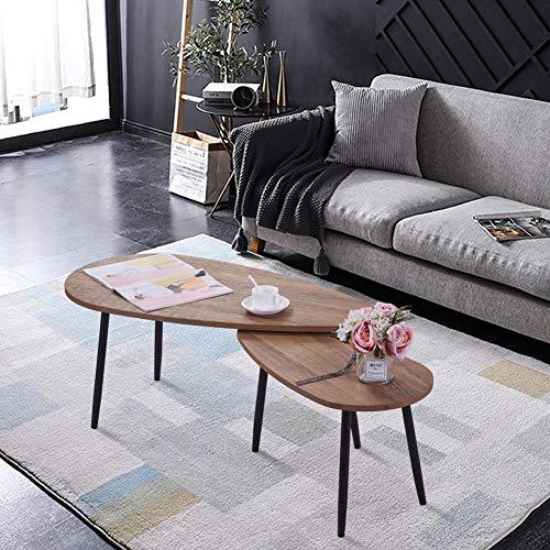 GOLDFAN Beistelltisch Holz Couchtisch 2er Set Wohnzimmertisch Sofatisch Kaffeetisch Satztisch Vitage Braun
