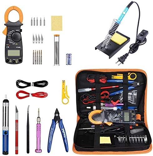 J & J Kit del Soldador 60W Mini Pinza amperimétrica 30 Piece Set, Cortador de Alambre, Stand, extremidad del Soldador Conjunto, Bomba desoldadura, la Mecha de Soldadura, Pinzas
