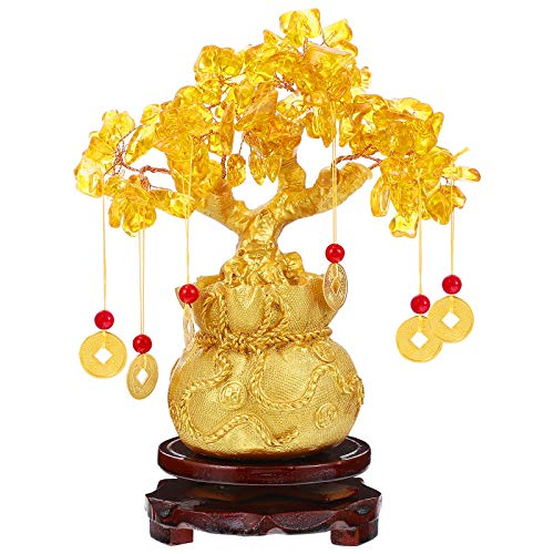 BESPORTBLE Chinese Feng Shui Money Tree Golden Fortune Tree Feng Shui Tree Bonsai Style Decoration for Luck and Wealth Feng Shui Ornament Bonsai (Gold)