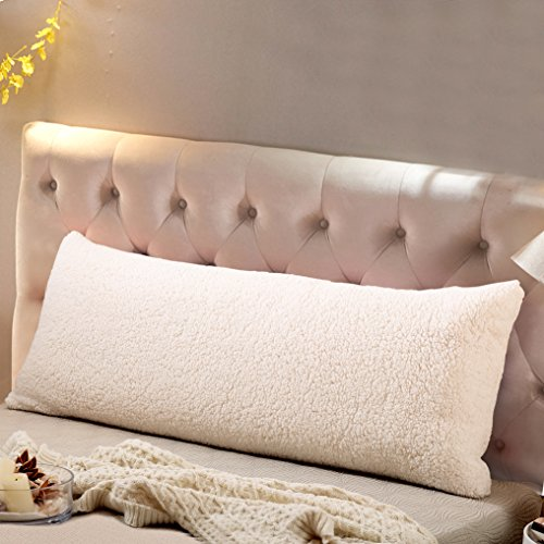 Reafort Ultra Soft Sherpa Body Pillow Cover/Case with Zipper Closure 21'X54'(Cream, 21'X54')