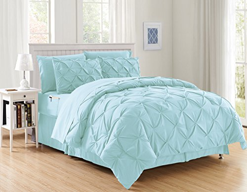 Elegant Comfort Luxury Best, Softest, Coziest 8-Piece Bed-in-a-Bag Comforter Set on Amazon Silky Soft Complete Set Includes Bed Sheet Set with Double Sided Storage Pockets, Full/Queen, Aqua