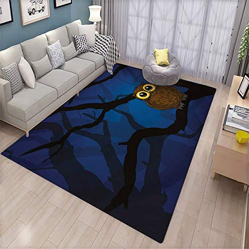 Balcony Floor mat,Night Cute Owl Sitting on a Tree Branch Mysterious Woods Spooky Forest Cartoon,Room Living Room Bedroom Bathroom Floor mat 200x300cm