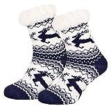 Piarini 1 Paar Kuschelsocken mit ABS Sohle - warme Damen Socken Hüttensocken - Wintersocken mit Anti Rutsch Noppen - Jumping Deer- Blau (One-Size)