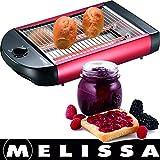 Melissa 16140124 Flachtoaster,Flach-Toaster, Tischröster,Tisch Röster, Edelstahl Design,Brötchen,Baquette,Fluetes,600 Watt Power Leistung,Rücklauf Timer,Krümelschublade, Rot Metallic Farben,