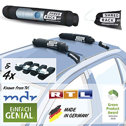 SHRED RACK Mini - Universal Dachgepäckträger Tasche mit 4 Spanngurten - Auto Dachträger für Autodach - Autodachträger, Dach Träger, Dach Gepäckträger in Schwarz
