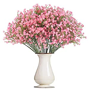 Bosslandy Babys Breath Artificial Flowers Gypsophila Bulk Baby's Breath Garland Fake Bule Bouquet of Flowers for Wedding 12 Pcs Faux Dried Baby's Breath Crown Silk Real Touch for Home Party (Pink)