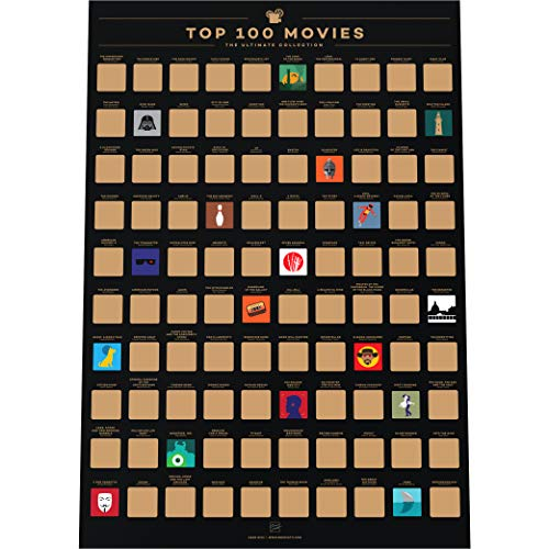 Enno Vatti 100 Movies Bucket List Scratch Off Poster - Top Filme Rubbelkarte (42 x 59,4 cm)