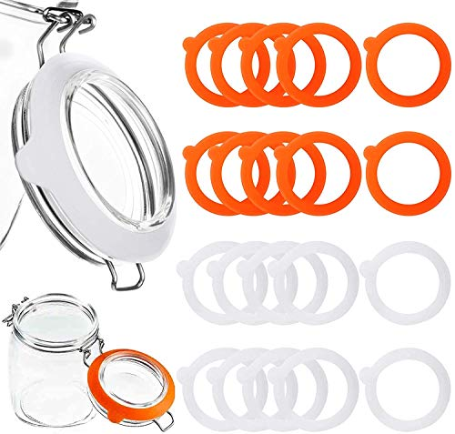 Kalolary 20 Pieces Replacement Rubber Seals Rubber Jar Gaskets, Leakproof Rubber Seals Reusable Airtight Rubber Gasket for Wide Mouth Glass Clip Top Jar Canning(White, Orange)