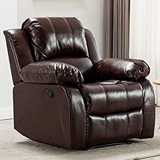 Bonzy Home Air Leather Recliner Chair Overstuffed Heavy Duty Recliner - Faux Leather Home Theater Seating - Manual Bedroom & Living Room Chair Reclining Sofa (Red Brown)