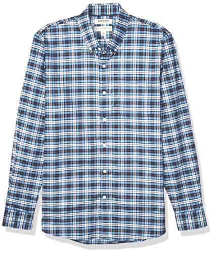 Goodthreads Standard-Fit Long-Sleeve Stretch Oxford Shirt (All Hours) button-down-shirts, Blue White Check, US M (EU M)