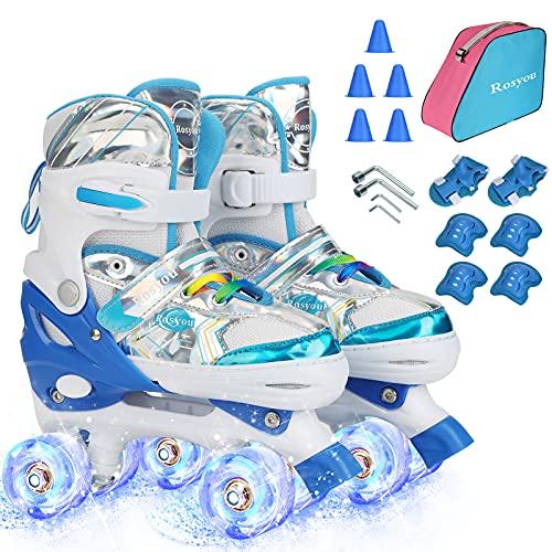 Roller Skates for Kids, Girls Boys Roller Skates for Beginners Children Outdoor Indoor Adjustable 4 Sizes with Light Up Wheels, Sports Protective Gear, Roller Skating roadblocksand and Sport Packag.