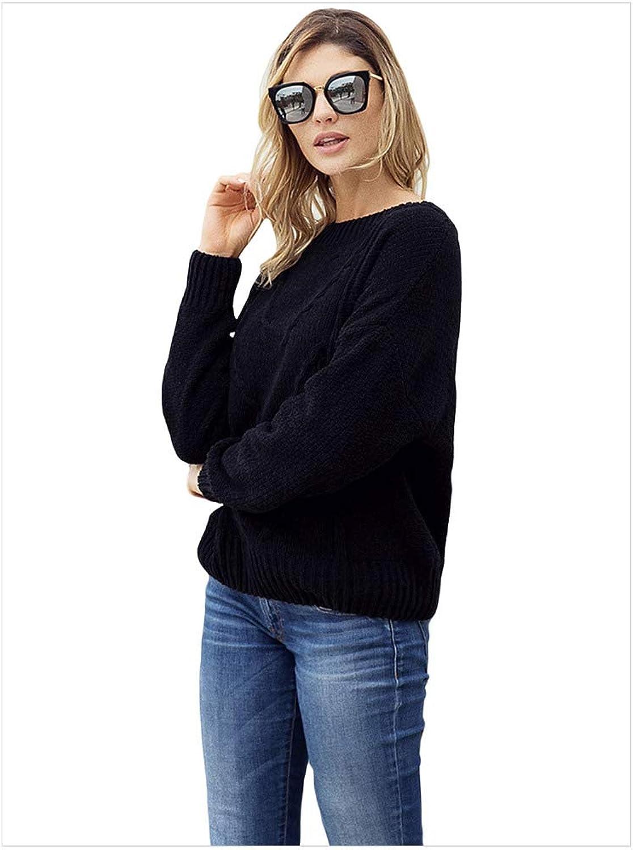 SilkRoadOriginal Women's Twist Knitting Head Round Neck Long Sleeve Large Size Sweater 27858