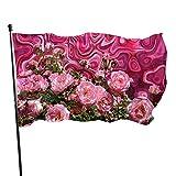 GOSMAO Bandera de jardín Rosas Amor Rojo Rosa Flor romántica Flor Color Vivo y Resistente a la decoloración UV Bandera de Patio de Doble Costura Bandera de Temporada Bandera de Pared 150X90cm