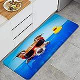 DYCBNESS alfombras de Cocina Antideslizantes Lavables,Perro Jack Russell sobre un colchón en el Agua del océano en la Playa...
