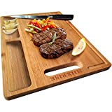 HHXRISE Organic Bamboo Cutting Board For Kitchen, With 2 Built-In...