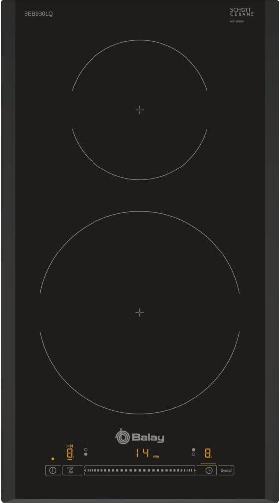 Balay 3EB864ER - Placa de inducción, 60 cm, 3 Zonas, zona 24 cm biselada, 175 Wh/kg, Negro, Control Táctil de fácil uso con 17 niveles de cocción, ...