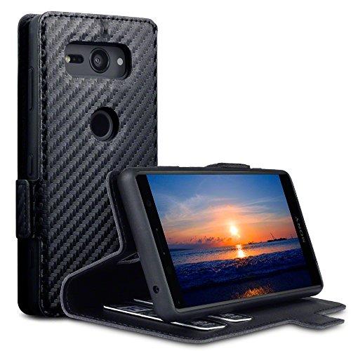 TERRAPIN, Kompatibel mit Sony Xperia XZ2 Compact Hülle, Leder Tasche Hülle Hülle im Bookstyle mit Standfunktion Kartenfächer - Schwarz Karbonfaser Dessin