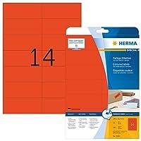 HERMA 5059 105x42.3mm Laser Paper Rectangular Coloured Labels - Matte Red (280 Labels, 14 per Sheet)