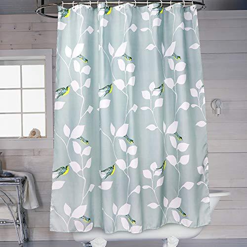SueH Design Duschvorhang aus Polyester mit Haken, Mehltauresistent, Wasserabweisend & Umweltfre&lich - Blauer Vogel