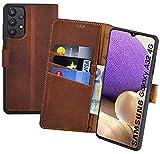Suncase Book-Style Hülle kompatibel mit Samsung Galaxy A32 4G (Nicht für A32 5G) Leder Tasche (Slim-Fit) Lederhülle Handytasche Schutzhülle Hülle mit 3 Kartenfächer in antik-Coffee