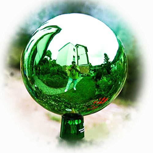 Lauschaer Glaskunst-Gartenkugel Thüringer Rosenkugel - 18 cm - Grün
