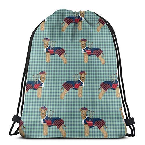 vintage cap Welsh Terrier Bagpipes Dogs in Costume Tartan_756 3D Print Drawstring Backpack Rucksack Shoulder Bags Gym Bag for Adult 16.9\
