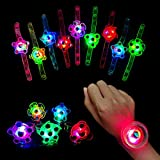 Awolf Light Up Spin Bracelet for Kids, Glow in The Dark Party Supplies 20 Pack, Kids Birthday LED Party Favors for Teens
