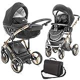 """Junama, passeggino combinato """"Diamond"""", per 1 bambino, con culla, passeggino sportivo, borsa fasciatoio e parapioggia; colori: nero / oro rosa."""