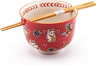 Happy Sales HSRB-LCRD, Japanese Ramen Udon Noodle Bowl with Chopsticks Gift Set, Red Lucky Cat