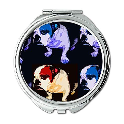 Yanteng Spiegel, Schminkspiegel, Französische Bulldogge, Taschenspiegel, 1 X 2X Vergrößerung