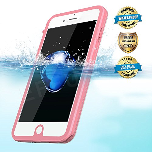 EFFUN iPhone 7 Waterproof Case, IP68 Certified Waterproof Underwater Cover Dustproof Snowproof Shockproof Case with Cell Phone Holder, PH Test Paper, Stylus Capacitive Pen and Floating Strap Pink