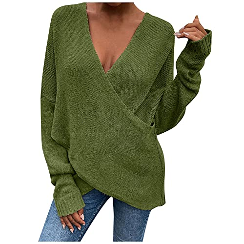NAQUSHA Women's V-Neck Knitted Jumper Autumn Winter Halloween Leisure Fashion Plain Coat Overlapping Loose Sweatshirts Tops Pullover, Green, S