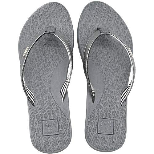 KuaiLu Chanclas Mujer Comodas Piel Verano Playa Piscina Ultraligera Sandalias de Dedo Planas Moda Caminar Antideslizante Yoga-Espuma Zapatillas Gris 42