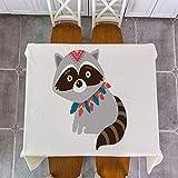 yueyue947 / Tribu Woodland Animal Bear Fox Print Mantel rativo de Lino/Impermeable Grueso Rectangular ración Cubierta de la Mesa Paño de Mesa de té/D 140x160cm