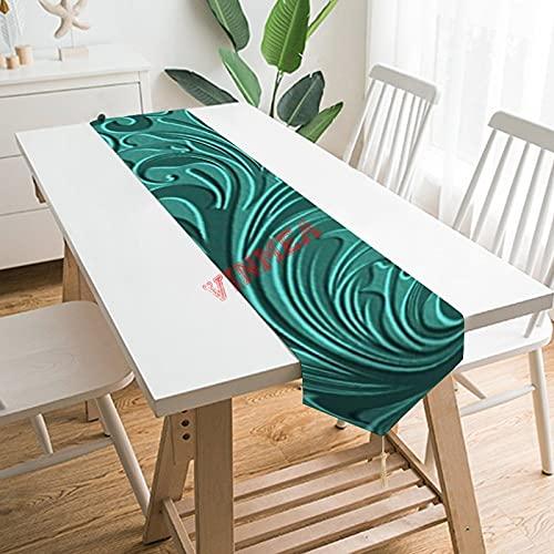 Camino de mesa bufandas, con clase, color turquesa turquesa imitación de cuero floral patrón de mesa para el hogar, cocina, cena, boda, eventos, decoración - 33 x 222 cm,