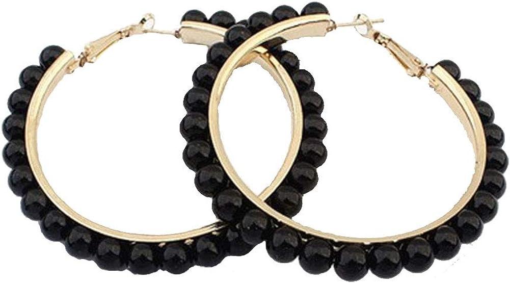 Large Hoop Dangle Earring Black White Pearl Earring With Stainless Steel Pin Big Circle Loop Earrings For Women Girls Jewelry