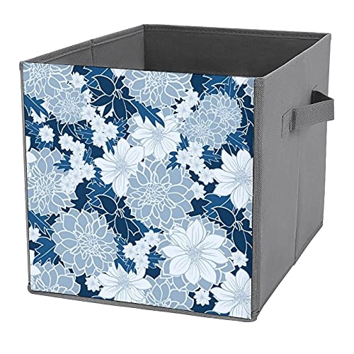 Folding Storage Bins,Pantone Classic Blue Floral Print Sofa Chair Storage Box,Storage Organisers,Storage Cubes,Thickened Canvas Fabric Storage Basket with Handles for Clothes,Toy,Books,Snack,Shoe
