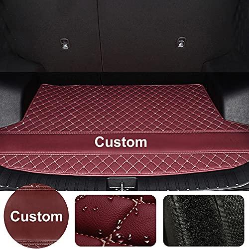 Awotzon Forro de carga de diamante personalizado/alfombrilla de maletero para Volkswagen Atlas Jetta Bora Polo Golf CC Toureg Variant,Heavy Duty Protección Cargo Mat Liner, vino tinto