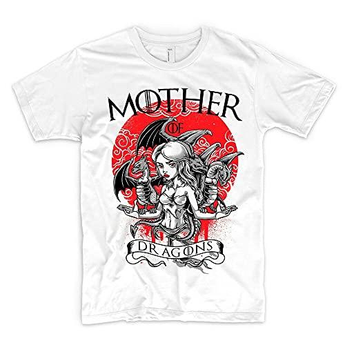 ZHANGYIN Mother of Dragons T Shirt Game of Throne House Targaryen Daenerys Stormbor Stark White 3XL