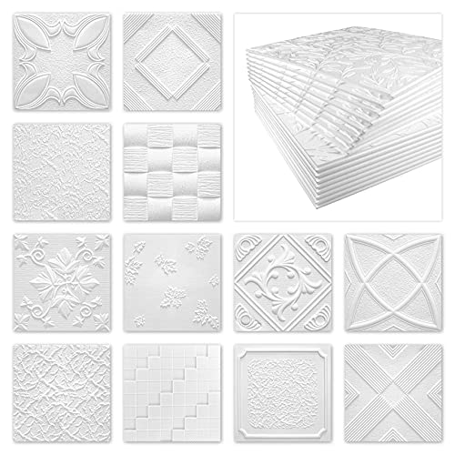 Deckenplatten aus Styropor EPS - Deckenpaneele leicht & robust im modernen Design - (18QM Sparpaket WIOSNA 50x50cm) Deckenplatten Paneele Platte weiß