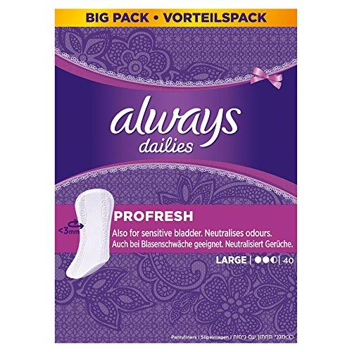 Always ProFresh Slipeinlagen, Large Vorteilspack, 4er Pack (4 x 40 Stück)