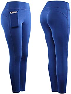 Iusun Women's Stretch Yoga Pants Leggings Pockets High-Waist Tummy Control Hip Underpants Workout Running Sport Fitness Tight Trousers