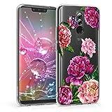 kwmobile Funda Compatible con Huawei Mate 20 Lite - Carcasa de TPU y Magnolias Grandes en Violeta/Rosa Claro/Transparente